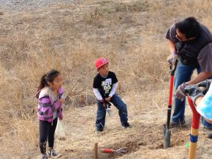 A volunteer teaches his young children how to plant an acorn.